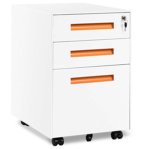 Rollcontainer, inkl. 3 Schübe, grundsolide Verarbeitung, optimal für Schreibtisch, Büromöbel, Aktenschränke, Büro-Rollcontainer, Bürocontainer mit Schubladen für A4, Hängeregistratur (Weiss-orange)