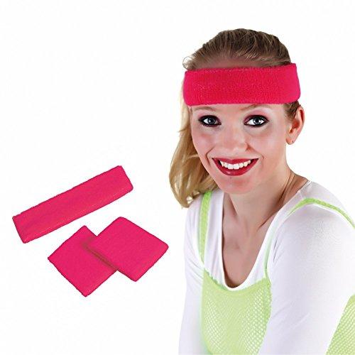 Kostüm Schmuck 1980's (Stirnband und Pulswärmer pink Zubehör 80er & 90er Jahre Mottoparty)