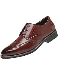 16f5134b70cec Soldes Homme Chaussures Richelieu Fauve Large en Cuir,Overdose Mode  Mocassins à Lacets Elégance Mariage