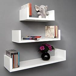 ts-ideen - Juego de estantes para pared (madera, 3 unidades), color blanco