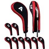 Andux Number Print Golf Iron Head Covers with Zipper Long Neck 10pcs/set 5 colors optional