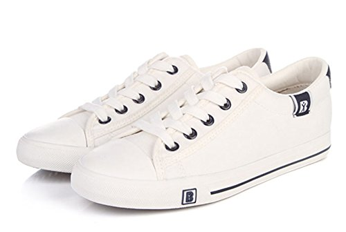 Aisun Damen Klassich Canvas Low Top Schnürsenkel Sneakers Weiß
