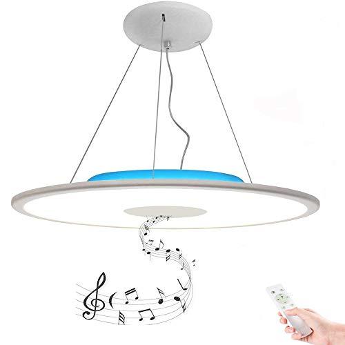 LED Dimmbar Hängelampe Pendelleuchte 36W Ø50CM RGB Kronleuchter Deckenleuchte mit Zweierlei Bluetooth Lautsprecher Weiss/Warmweiss [ APP + Fernbedienung ], für Esszimmer, Wohnzimmer, Schwarz