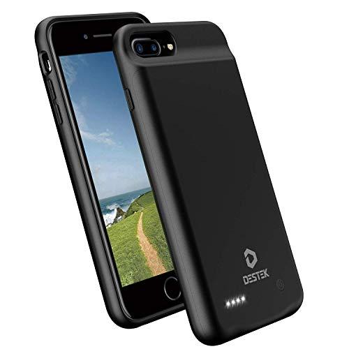 DESTEK Akku Hülle für iPhone 6 Plus/ 6s Plus/ 7 Plus/ 8 Plus Dünn Battery Case [4000mAh] Verlängerte Ladehülle Power Case Schutzhülle Akku Case, Schwarz (Verbesserte Version) (Case Battery Sechs Plus)