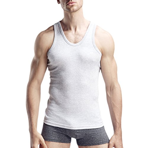 Zhhlaixing Cool Mens Athletic Elastic Vest 3 Colors Fashion Slim Cotton Underwear Top Gray