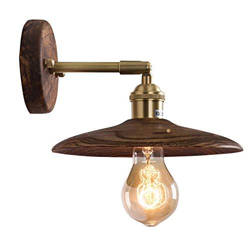 Retro Walnuss Holz-Wandleuchte Innen Messing Wandlampen Drehbar Designerlampe E27 Leuchtmittel für Wohnzimmer Schreibzimmer Treppen Gang Flur-Wandlicht,10 * 12 * 20CM -
