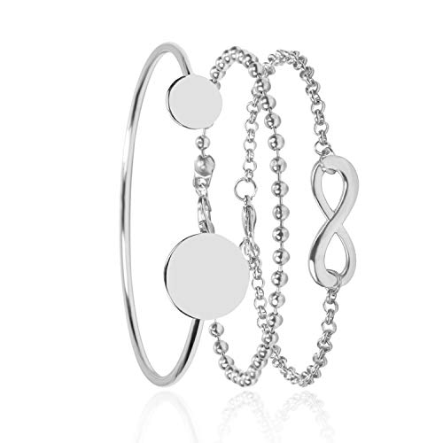 ersönlichkeit Legierung Geometrie Runde Ornamente Einfache 8 Wort Kette Perlen Kette Armband Frauen ()