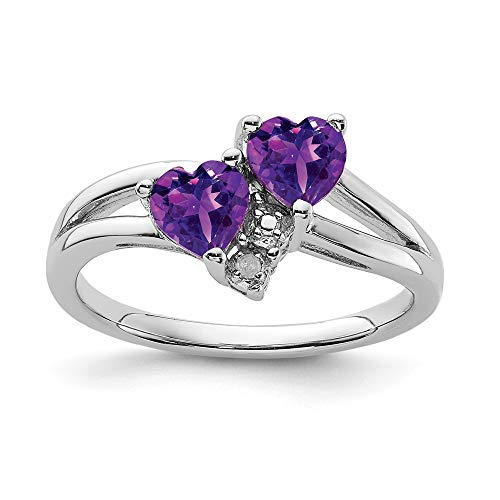 Sonia Jewels Sterling Silver Engagement Ring 925 Solid, Purple Simulated February Mole Simulated Diamond Amethyst Birthstone (0,01 Carat). (3 mm)
