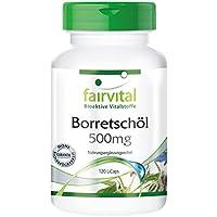 Borretschöl 500mg - für 2 Monate - VEGAN - HOCHDOSIERT - 120 LiCaps - reich an Gamma-Linolensäure (Omega-6)