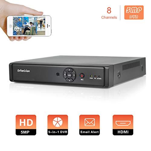 Evtevision 8 Kanal 5MP AHD/TVI/CVI DVR CCTV Sicherheit Digital Video Recorder Unterstützung 5MP/4MP AHD/TVI/CVI Kamera, P2P Cloud,E-Mail Alert mit Schnappschuss, Remote Smartphone Access (NO HDD)