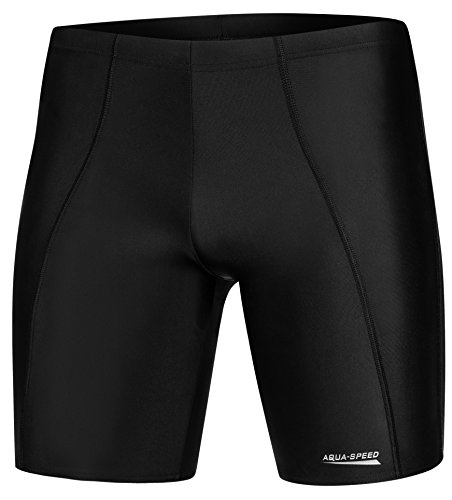 Aqua Speed enge Badehose knielang Jungen | moderne Schwimmhose für Jungs Teenager | Boys Swimwear I schwarze Badeshorts | Badebekleidung UV I Badepants lang I Swim Shorts I Surfen I Long, Gr. L, Black