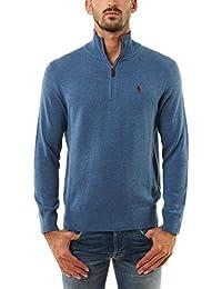 RALPH LAUREN - Pull demi-zippé Ralph Lauren en laine bleu pour homme