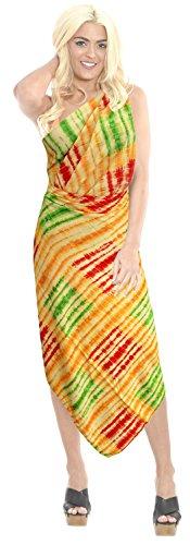 La Leela Frauen verschleiern Badeanzug Bikini Pareo Sarong ethnischen Bademode Bikinibadebekleidung Spritziger Orange