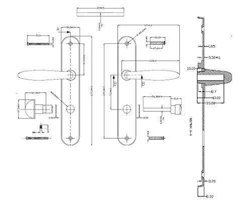 Juego de tiradores para puerta interior sin llave Bricard 984052 color plateado zamak