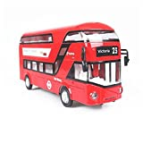 edealing(TM) London Double Deck Bus City Sightseeing Sound Light Model Toys Gift For Kids Children (RED)