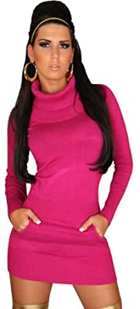 In Style Langarmiges Strickkleid/ Pullover mit Rollkragen, Damen, Einheitsgröße (32-38) Gr. Einheitsgröße, Pink - Pink