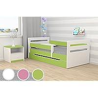 Preisvergleich für Kocot Kids Kinderbett Jugendbett 80x160 Grün mit Rausfallschutz Matratze Schubalde und Lattenrost Kinderbetten für Mädchen und Junge - Tomi 160 cm