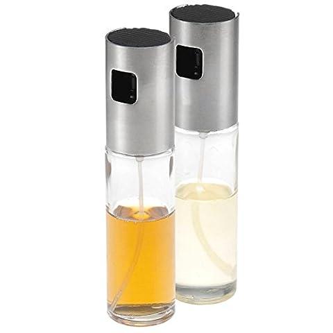 Westmark Essig- und Ölsprüher Set, Mit Pumpsprühkopf, Füllvolumen je 100 ml, Glas/Rostfreier Edelstahl, Silber/Transparent,