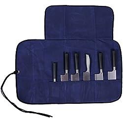 Étui de rangement pour 6couteaux de cuisine, housse, pochette enroulée pour ranger six couteaux de chef, portefeuille, sac fourre-tout avec sangle, en toile (HGJ03-M)