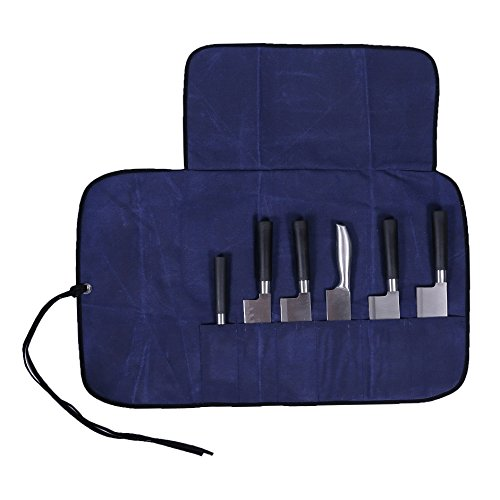 6 Pockets Chisel Chefs Knife Storage Roll Pouch Wallet Case Bag Tote With Canvas Strap(HGJ03-M)