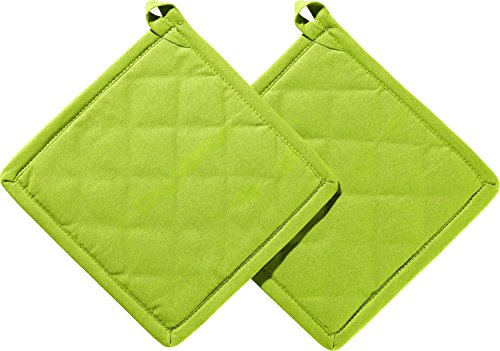 REDBEST Topflappen 2er-Pack 100% Baumwolle grün Größe 20x20 cm - innen hitzebeständige Wattierung, außen feines, glattes Gewebe, mit Schlaufe (weitere Farben) (Topflappen, Geschirrtücher)