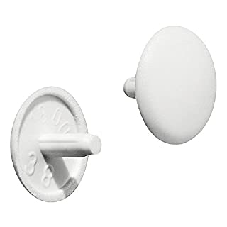 Gedotec Möbel-Abdeckkappen rund Verschluss-Stopfen Kunststoff Schrauben-Kappen für Kopflochbohrung PZ2 | H1115 | Ø 12 x 2,5 mm | weiß | 20 Stück (20 Stück)
