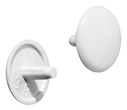 Gedotec Möbel-Abdeckkappen rund Schrauben-Kappen für Kopfloch-Bohrung PZ2   H1115   Abdeckungen Ø 12 x 2,5 mm   Verschluss-Stopfen Kunststoff weiß   20 Stück - Endkappen für Bohrlöcher & Holz-Möbel