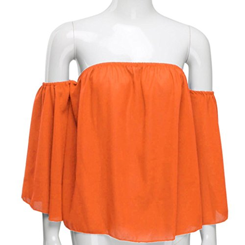 Femmes Sexy Tops, OverDose Top éPaules Nues En Mousseline Structuré Pullover Off Shoulder Blouse Orange