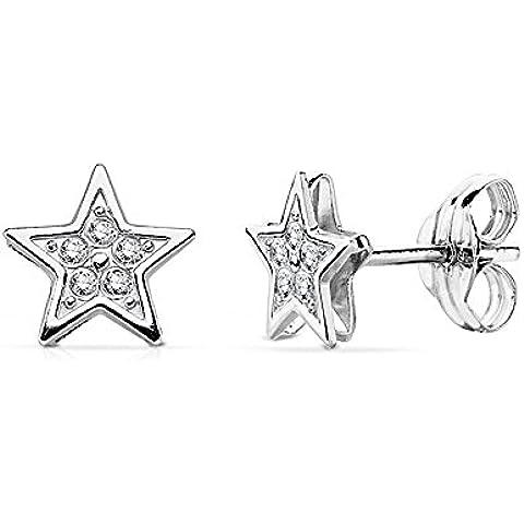 18k oro bianco orecchini stella 6,5 ??millimetri. [AA7325] - 5 Millimetri Stella Orecchini
