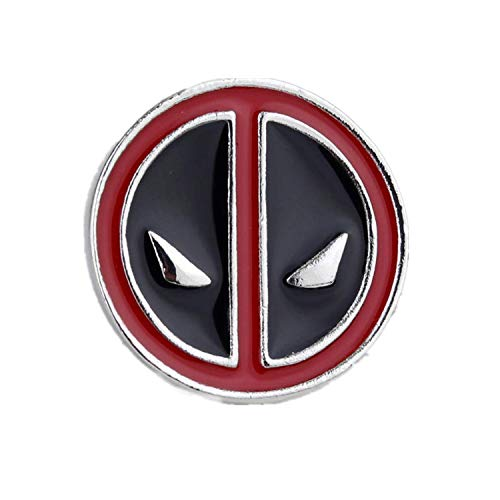 Deadpool Logo Brooch Cute Cartoon Round Red Black Enamel Brooch Pin with Black Gift Bag