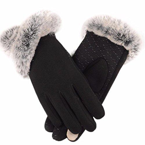 Handschuhe Damen Longra Luxuriöse Frauen Mädchen PU Leder Handschuhe Winter Warm Driving Soft Futter Handschuhe mit Künstlich Pelz (Black) (Frauen Handschuhe Tasche)