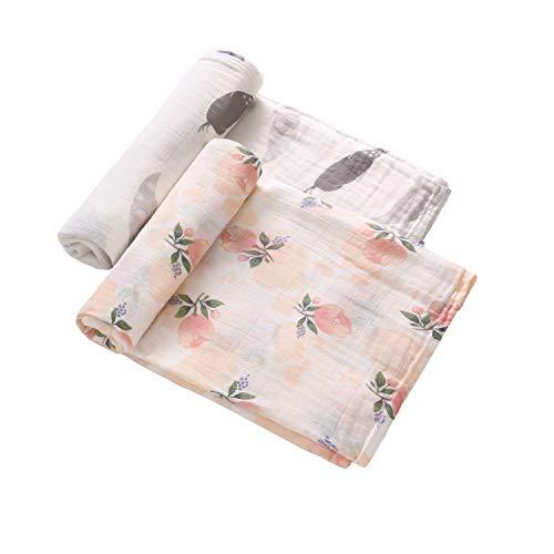 Couverture pour bébé de 120 x 120 cm - En 70% bambou et 30% coton,Couverture en bambou mousseline doux et confortable pour poussette, deux épaisseurs,Paquet de 2