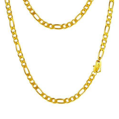 PROSTEEL Herren Halskette Edelstahl Figarokette 4MM Breite 3+1 glänzend vergoldet Glieder Link Gliederkette Herren Hip-Hop Kette, 61CM lang, Gold - Kette Edelstahl Vergoldete