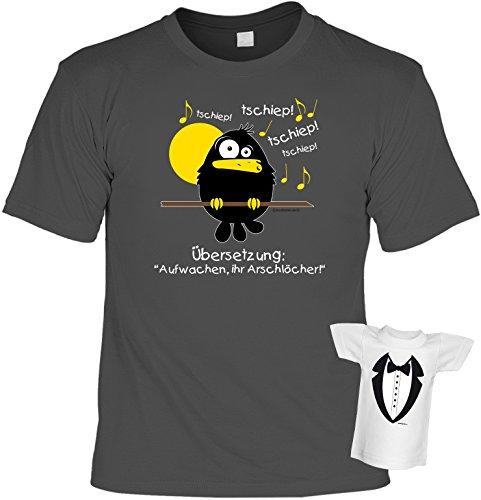 Fun T-Shirt - Tschiep Tschiep! Übersetzung: Aufwachen Ihr Arschlöcher! Farbe: anthrazit, plus Minishirt! Anthrazit