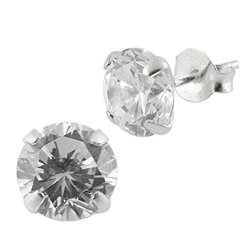 Trasparente rotonda cz pietra 925orecchini in argento sterling, argento, cod. cap-mp-ear451-10mm