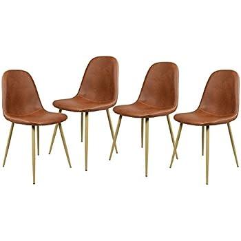 Navy Blue Furniture Lot de 4 Chaises Scandinave Marron Salle à Manger  Chaises de Cuisine Vintage en PU Cuir Marron b19319d48ac8