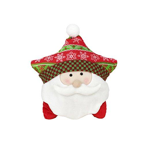 Tinksky throw cuscino cuscino decorativo decorativo natalizio per divano da casa decorazione cinque punti a forma di stella regalo di compleanno di natale per i bambini (stile old man)