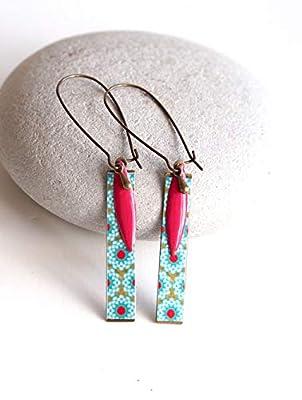 Boucles d'oreilles, Pendantes, Fleuri, Turquoise et Rouge, Bronze, Bijoux pour Femme