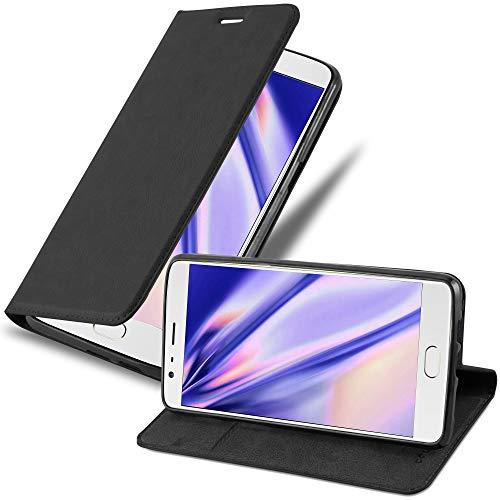 Cadorabo Hülle für OnePlus 3 / 3T - Hülle in Nacht SCHWARZ - Handyhülle mit Magnetverschluss, Standfunktion und Kartenfach - Case Cover Schutzhülle Etui Tasche Book Klapp Style
