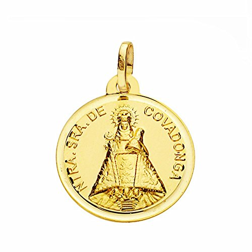 Medalla Oro 18K Virgen De Covadonga 18mm. Lisa Bisel [Aa2534Gr] - Personalizable - Grabación Incluida En El Precio