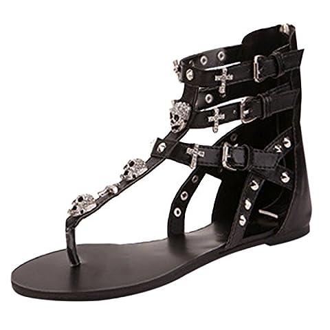 Oasap Women's Buckle Back Zip Flat Thong Sandals, Black EURO37/US6/UK4