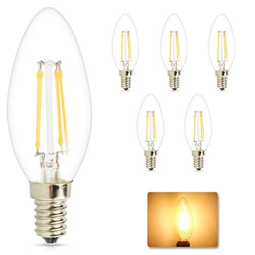 Mengjay® 5 pezzi E14 LED lampade a incandescenza 4 sostituzione Watt per lampada alogena 40W 360LM Bianco Caldo 2200-2700K 360 ° angolo del fascio LED lampadina LED delle lampadine Confezione