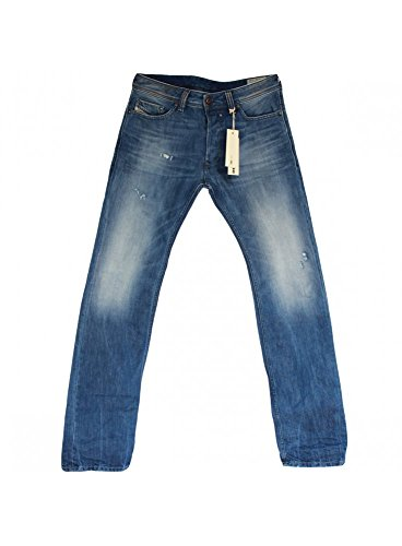 Diesel Herren Straight Leg Jeanshose Blau Blau