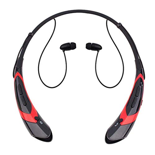 Bluetooth Kopfhörer für Unisex/Skxinn Hanging Neck Sport Bluetooth Kopfhörer in Ear,Bluetooth Headset Earphone,Metal Ear Shell Super Good Sound Qualit,Ausverkauf(Rot,One size) - Läufer Headset