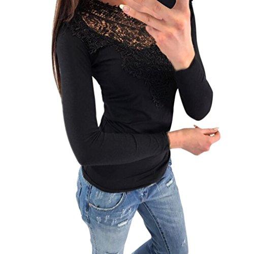 Bekleidung Damen AMUSTER Hot Sale Frauen Sexy Langarm Pullover O Hals Spitze Patchwork Sweatshirt Bluse Oberteile Slim Fit Shirt Tops Einfarbig Rundhals Bluse (M, Schwarz) (Bag Wash Pullover)