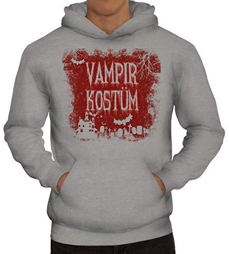 ShirtStreet Halloween Fasching Karneval Gruppen Herren Hoodie Männer Kapuzenpullover Vampir Kostüm, Größe: XXL,Graumeliert
