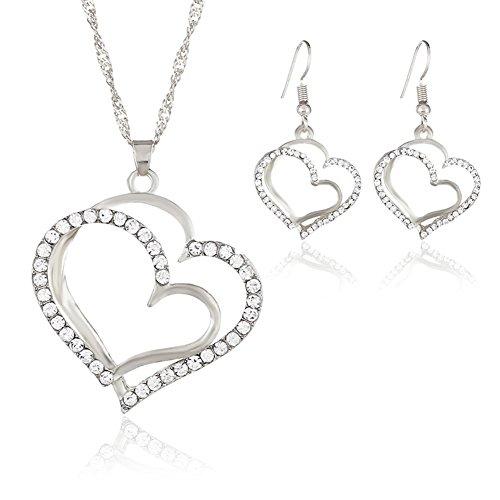 Bigboba moda collana doppio strato cuore pendente con cristallo collane orecchini set,argento,42cm