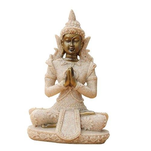 Der Farbton Sandstein Buddha Statue