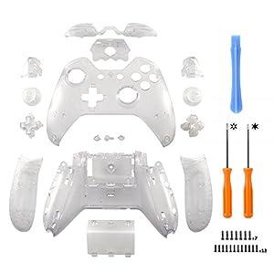 eXtremeRate Schutzhülle Case Hülle Gehäuse Housing Kit Komplette Cover Skin Schale Shell für Xbox One Original Controller mit Oder Ohne 3,5mm-Anschluss(Transparent)