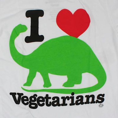Goodie Two Sleeves Shirt I LOVE VEGETARIANS TEE white White